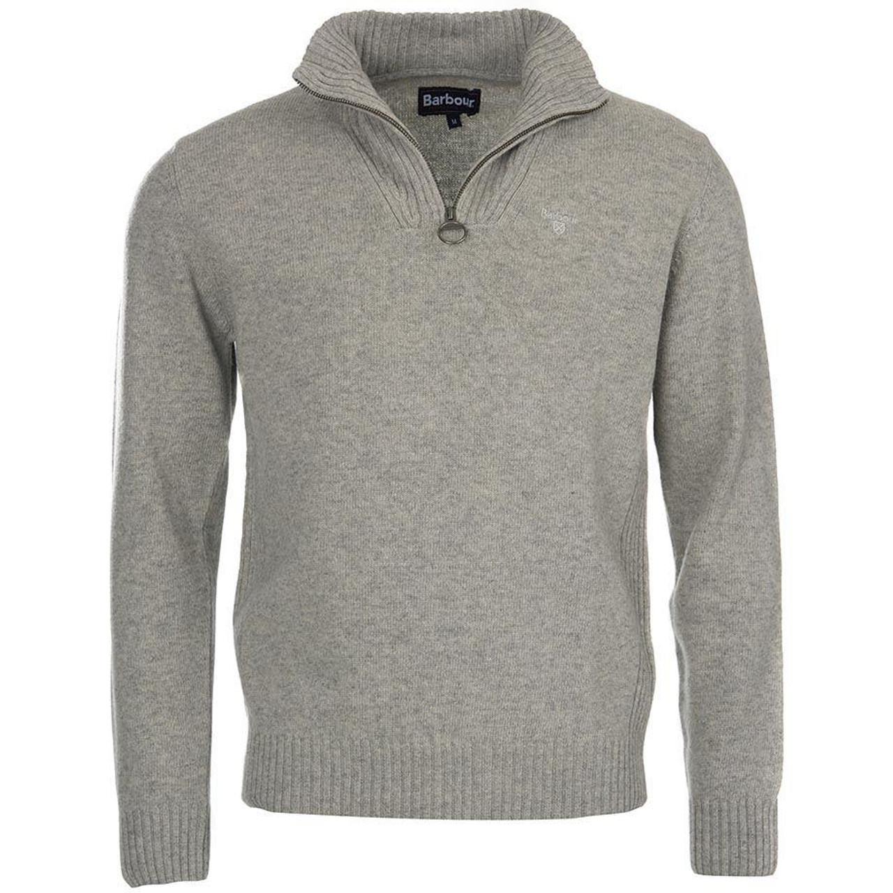 Light Grey Marl Barbour Mens Essential Lambswool Half Zip Sweater