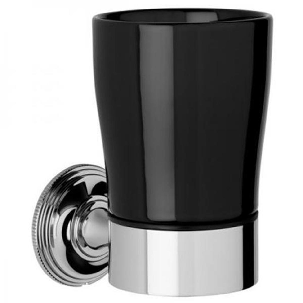 Chrome Plated Samuel Heath Style Moderne Tumbler Holder Black Ceramic N6635B