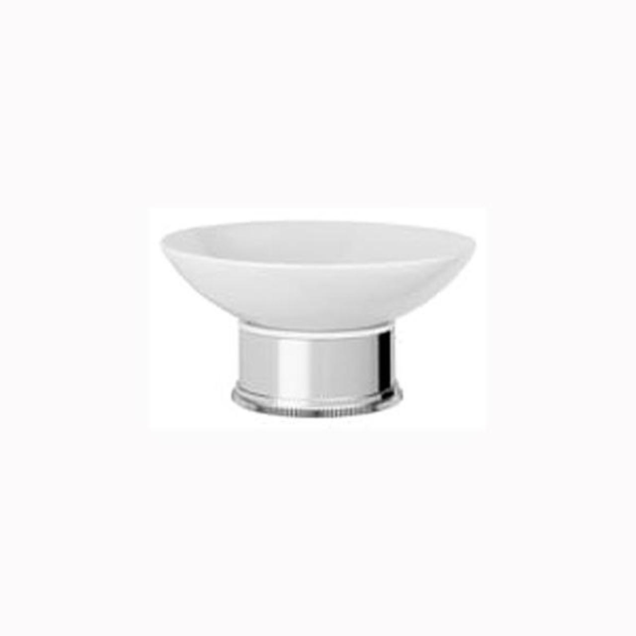 Chrome Plated Samuel Heath Style Moderne Freestanding White Ceramic Soap Holder N6664W