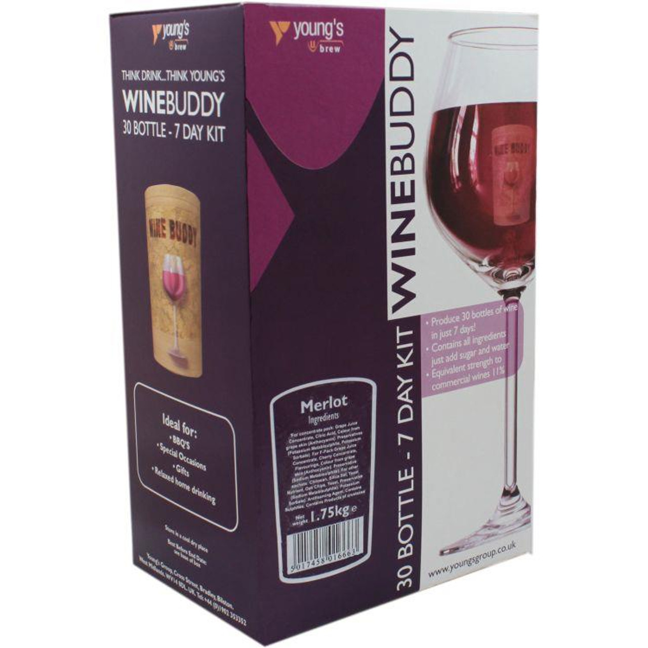 Youngs WineBuddy Merlot 30 Bottle Kit