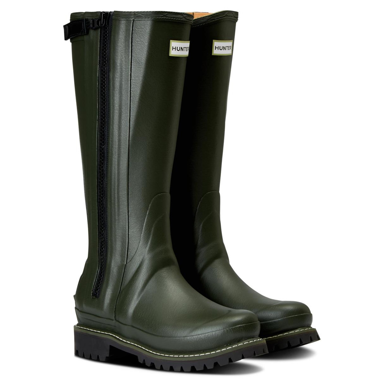 Dark Olive Hunter Womens Balmoral Leather Lined Full Zip Boots