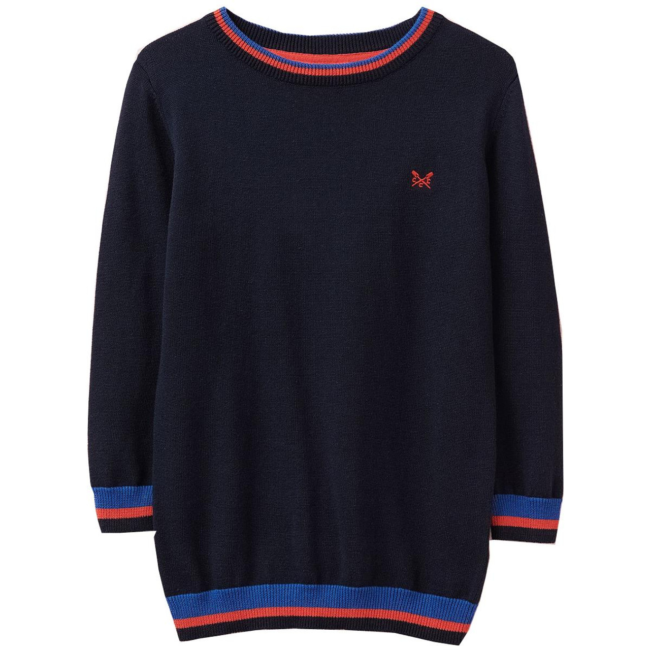 Patriot Blue Crew Clothing Boys Foxley Crew Neck Tipped Jumper