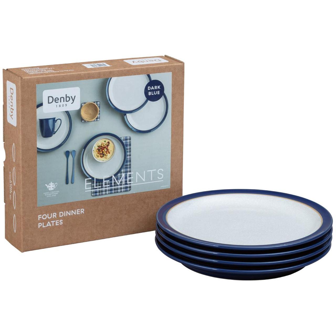 Denby Elements Dark Blue 4 Piece Dinner Plate Set