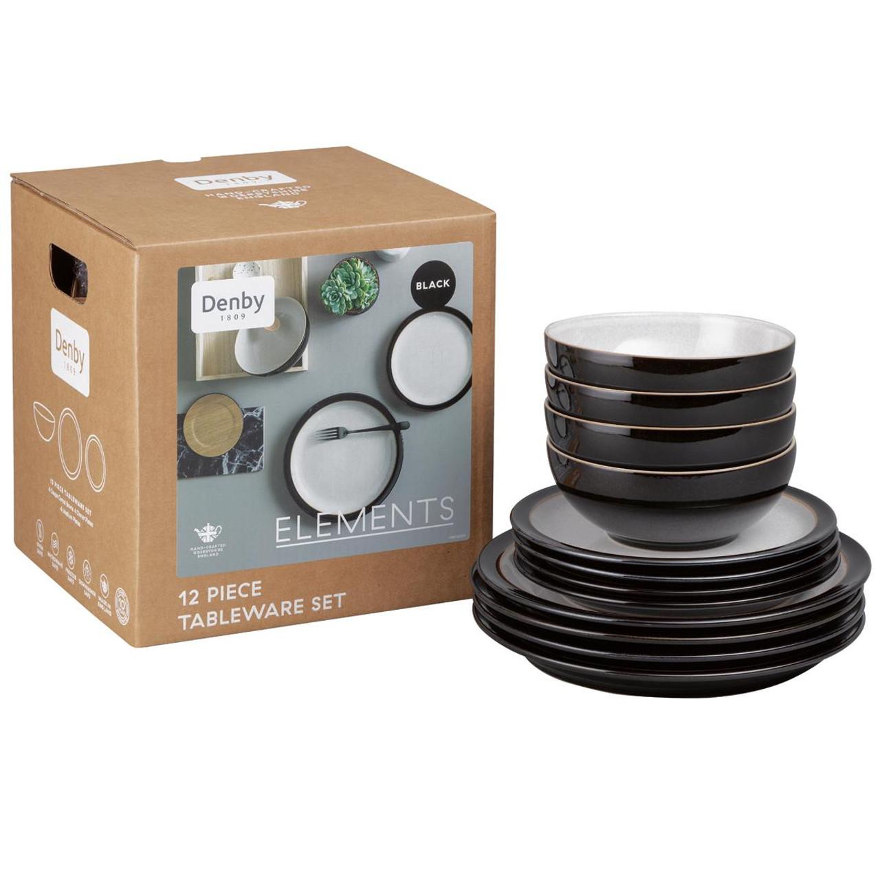 Denby Elements Black 12 Piece Tableware Set