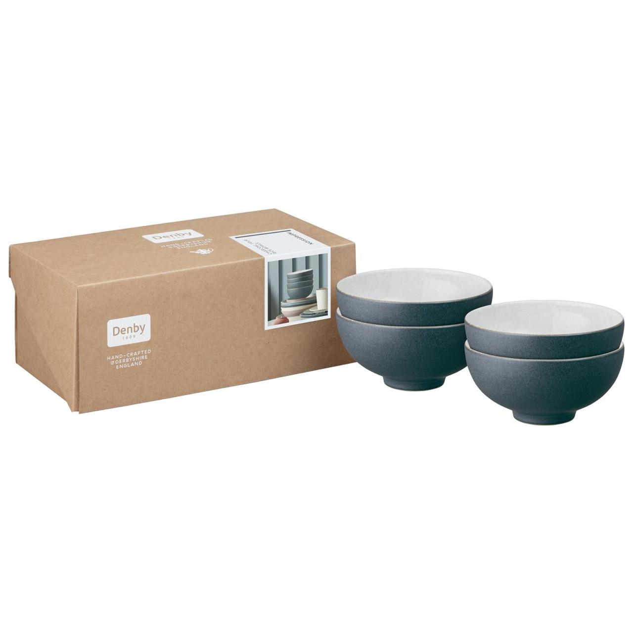 Denby Impression Charcoal Set Of 4 Rice Bowls