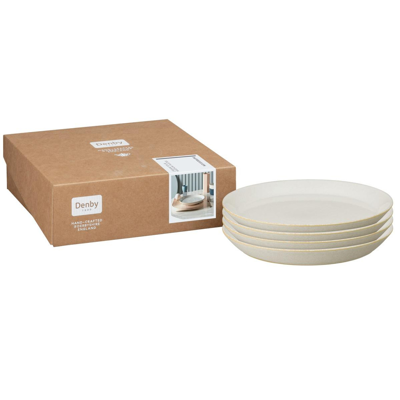 Denby Impression Cream Set Of 4 Medium Plates