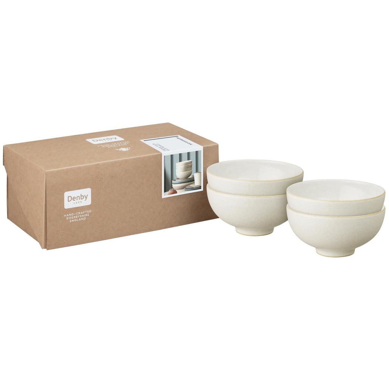 Denby Impression Cream Set Of 4 Rice Bowls