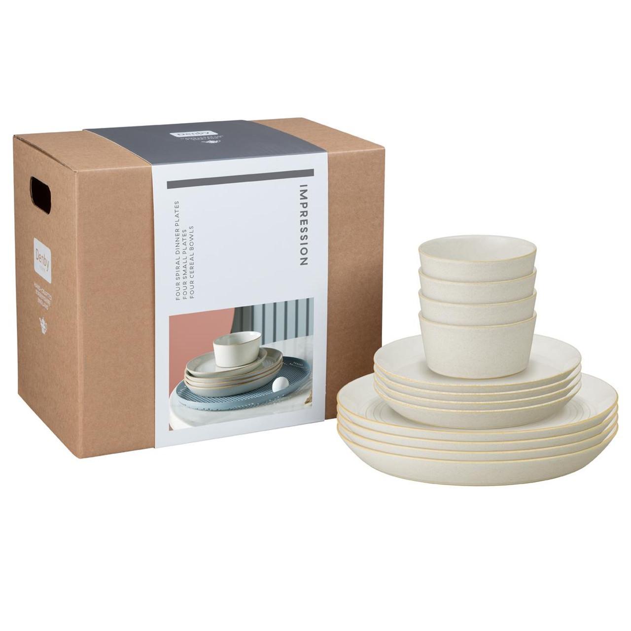 Denby Impression Cream 12 Piece Tableware Set