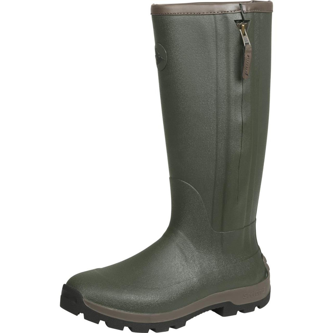 Dark Olive Seeland Mens Noble ZIp Wellington Boots