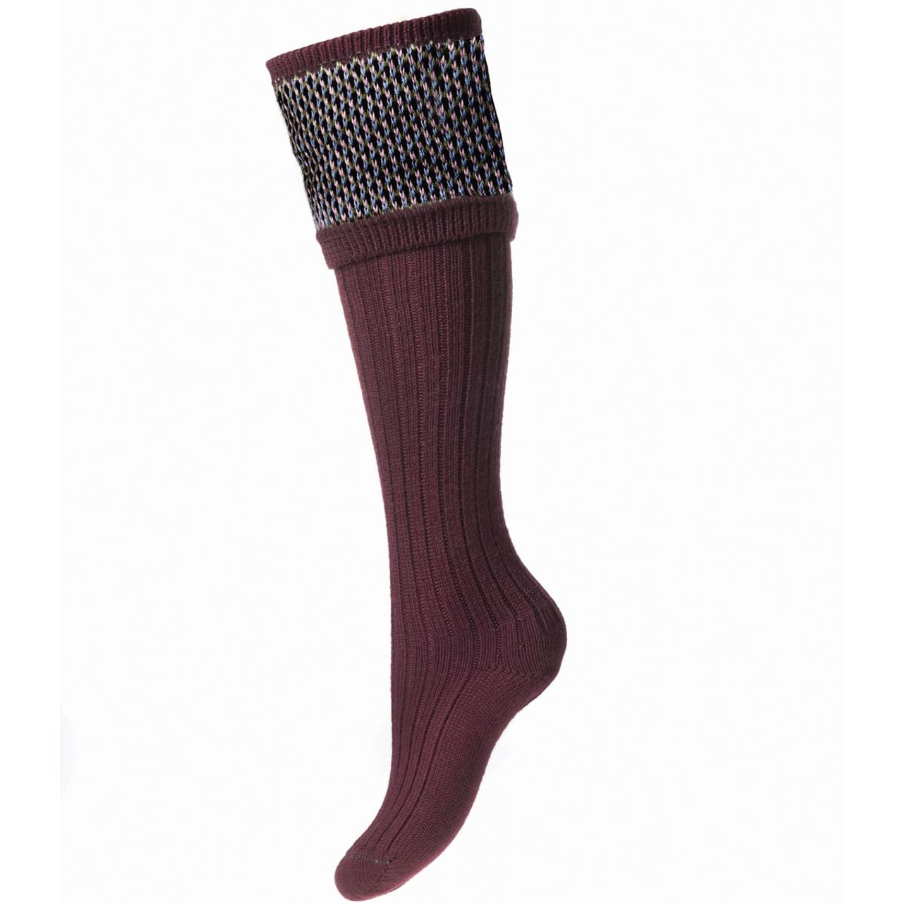 Burgundy - House Of Cheviot Lady Tayside Socks