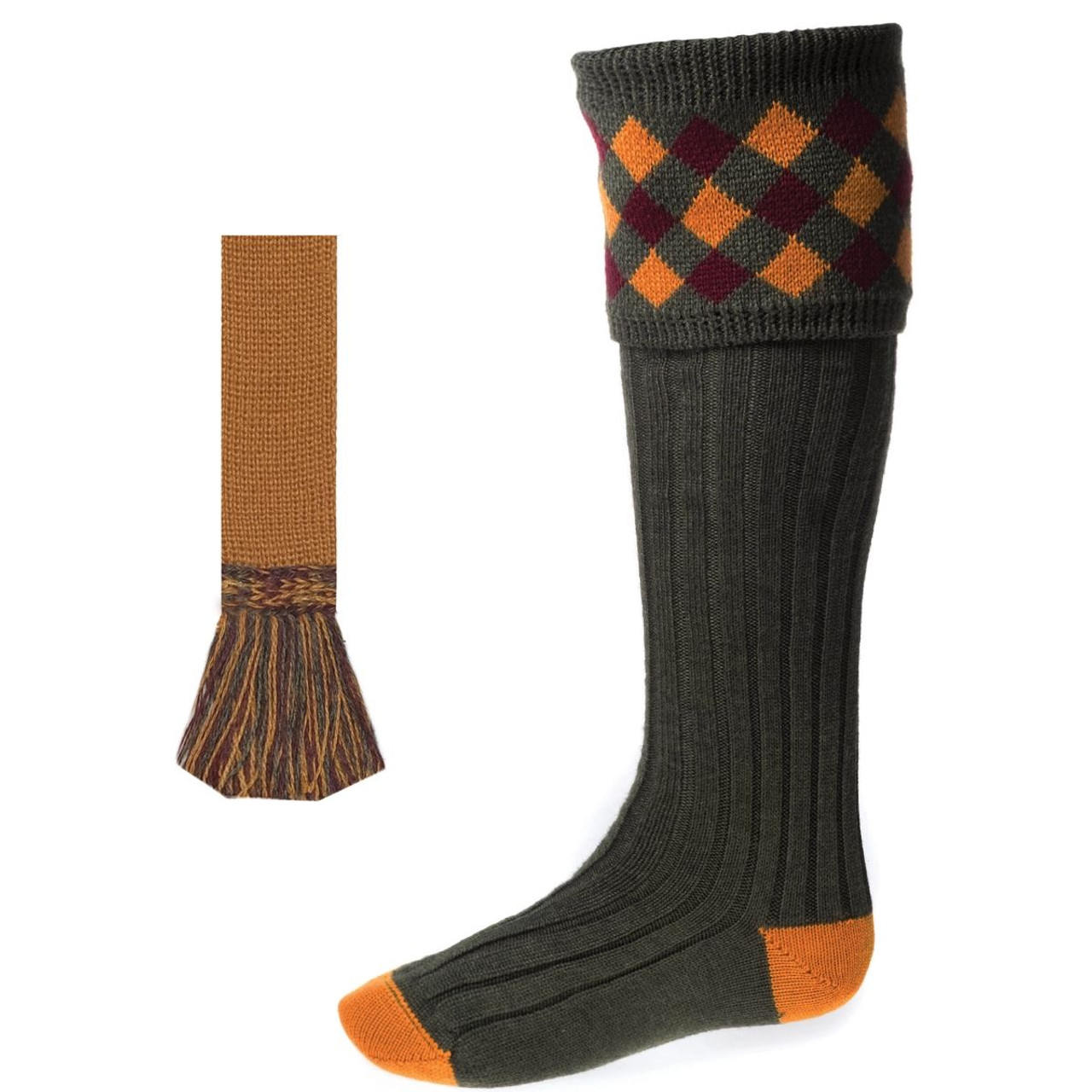 House Of Cheviot Chequers Sock Set With Garter
