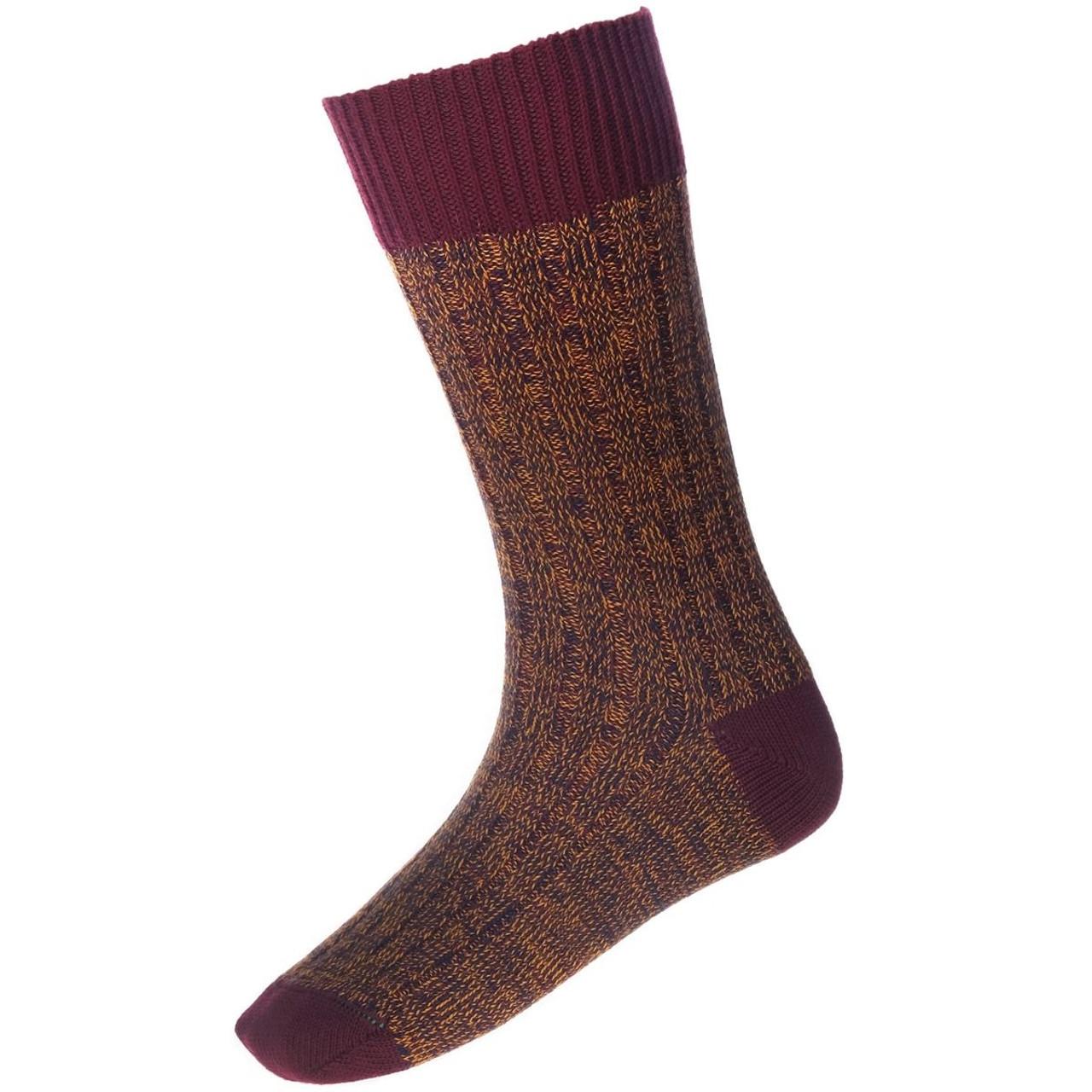 Burgundy - House Of Cheviot Firth Boot Socks