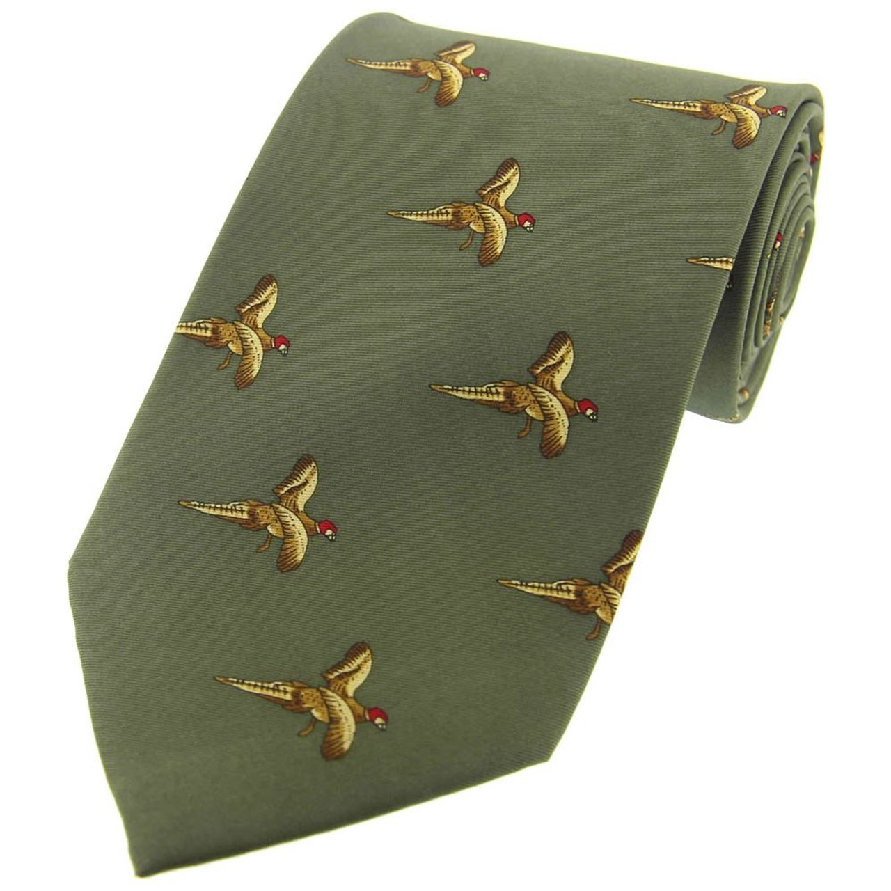 Heritage 1845 Silk Tie Flying Pheasants Country Green