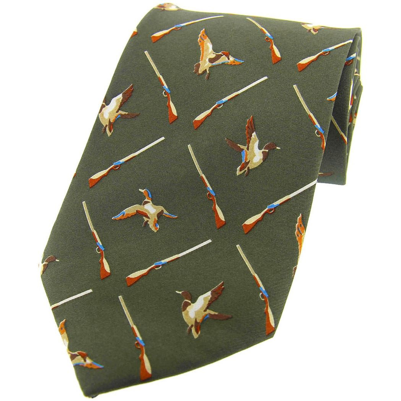 Heritage 1845 Silk Tie Ducks and Guns Green