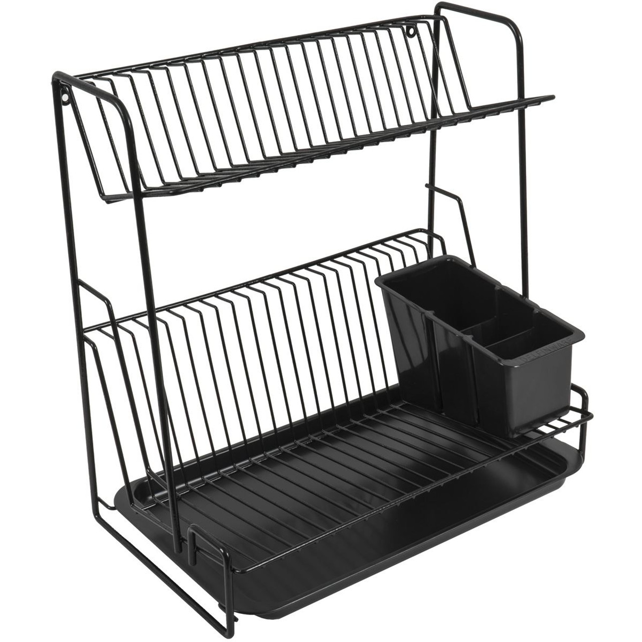 Delfinware 2 Tier Plate Rack Black
