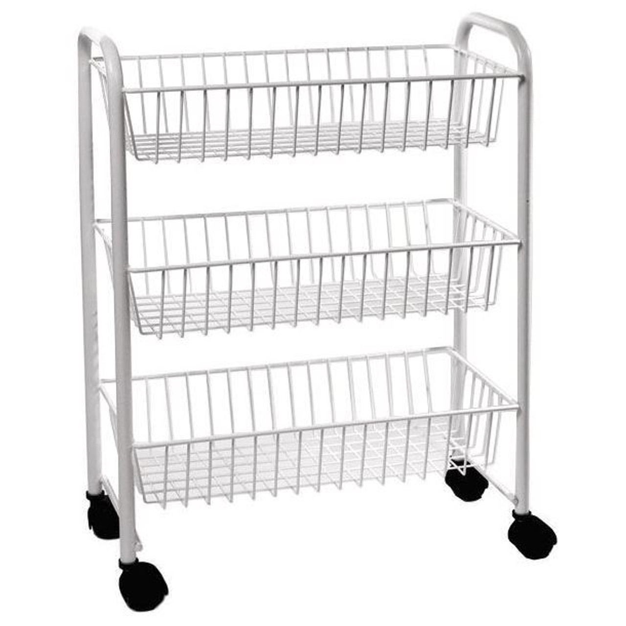 Delfinware Three Tiered Mobile Trolley in White