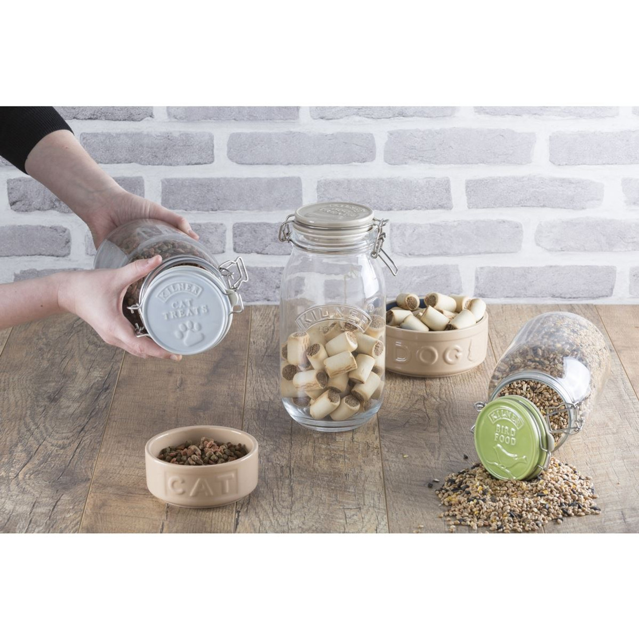 Kilner Ceramic Round Clip Top Pet Food Storage Jars