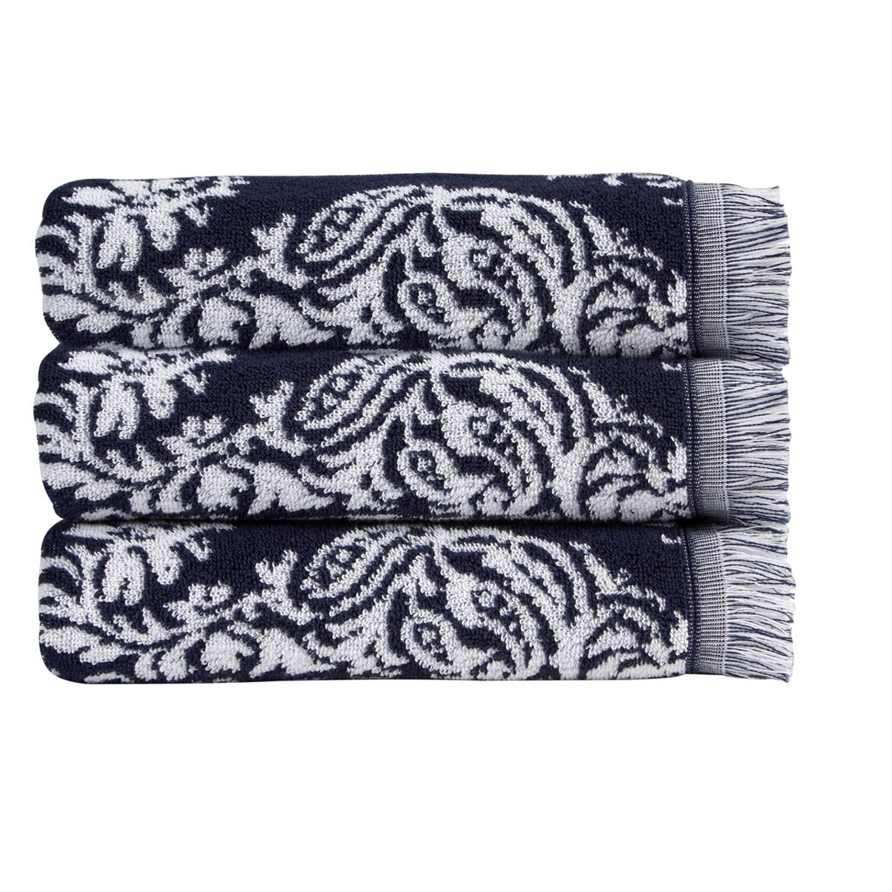 Christy Siam Block Print Towels in Midnight