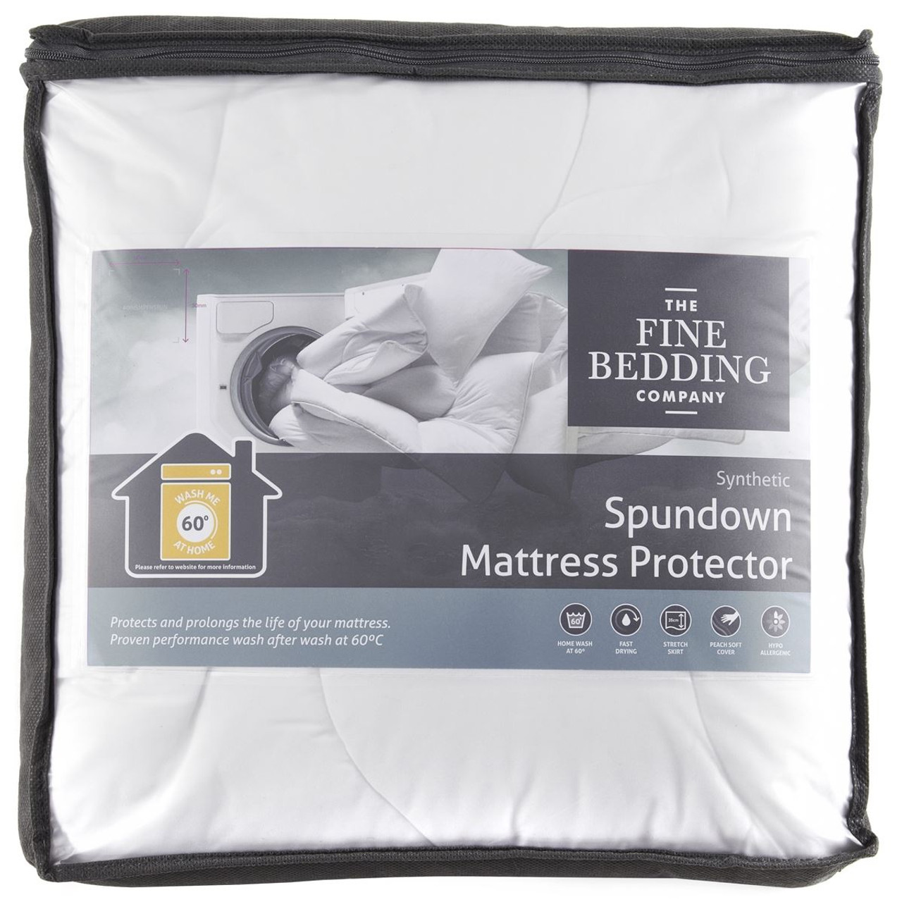 The Fine Bedding Company Spundown Mattress Protector packaging