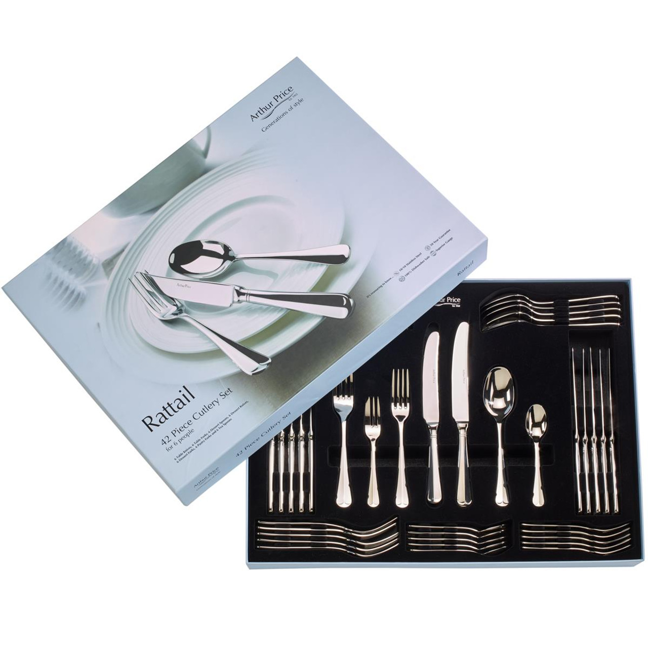Arthur Price Rattail 42 Piece Cutlery Set