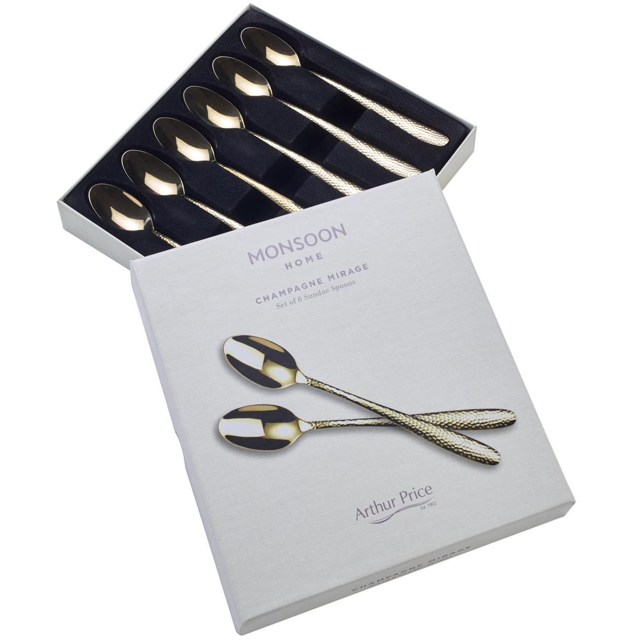 Arthur Price Monsoon Champagne Mirage 6 Sundae Spoons
