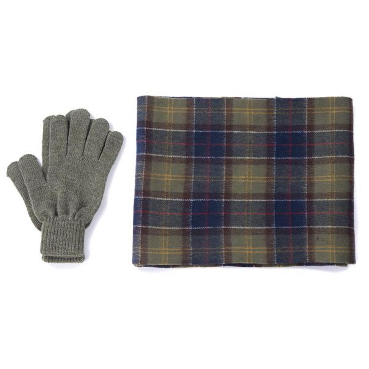 Classic Tartan Barbour Mens Tartan Scarf and Glove Gift Set
