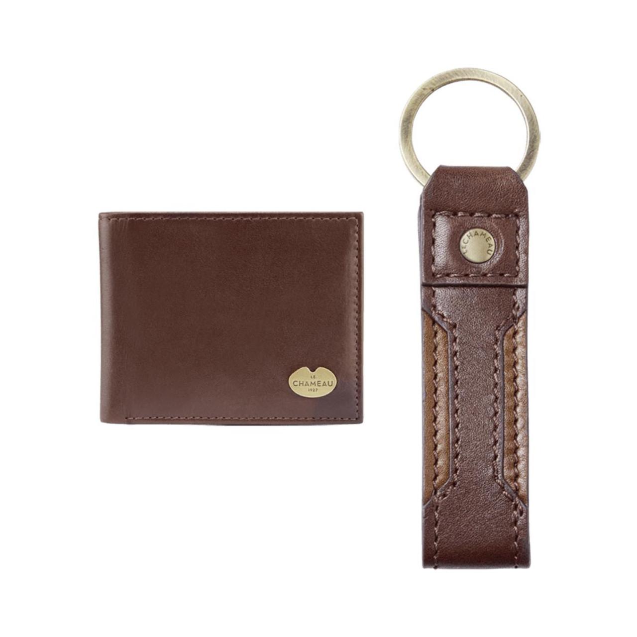 Marron Fonce Le Chameau Leather Jameson Key Ring & Bifold Wallet Gift Set