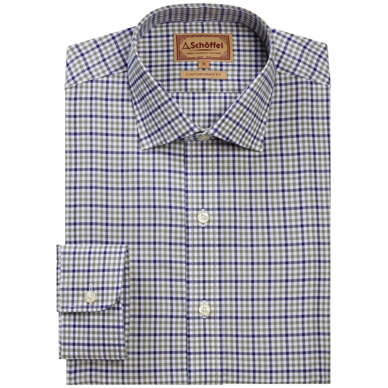 Navy/Olive Micro Schoffel Mens Burnsall Shirt