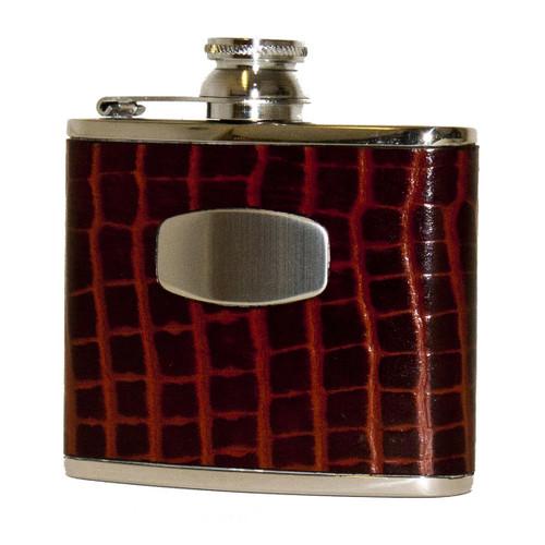 Brown Croc Leather Flask 4oz