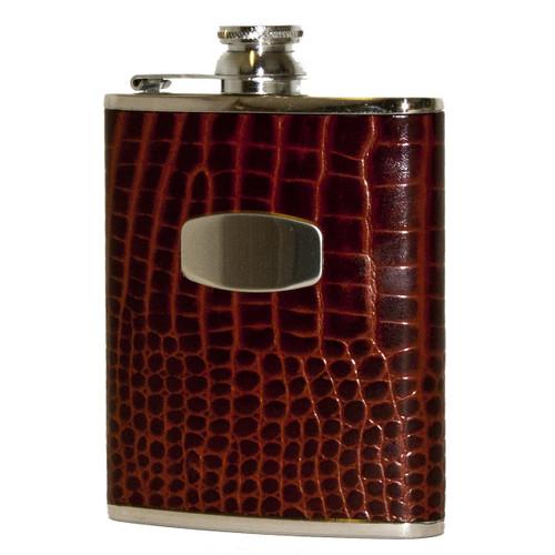 Brown Croc Leather Flask 6oz