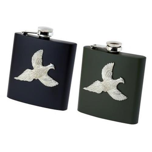 Black/Green Bisley Metal Pheasant Hip Flask
