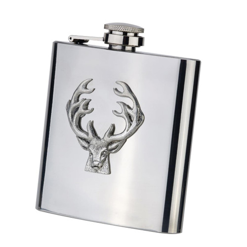 Stainless Steel Bisley Stag Hip Flask