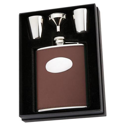 Brown David Nickerson 6oz Hip Flask & Cups Gift Box