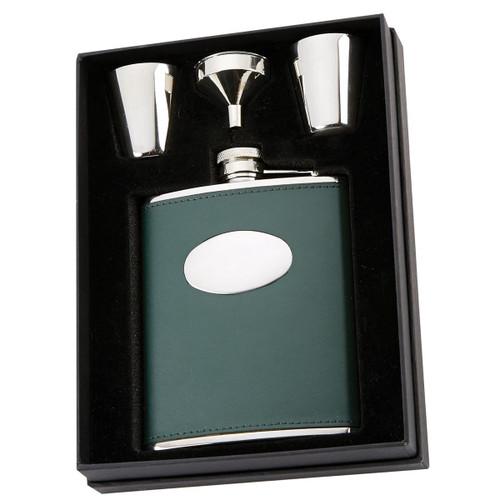 Green David Nickerson 6oz Hip Flask & Cups Gift Box