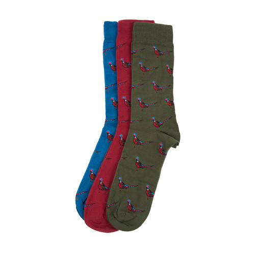 Olive/Blue/Red Barbour Mens Pheasant Sock Gift Box