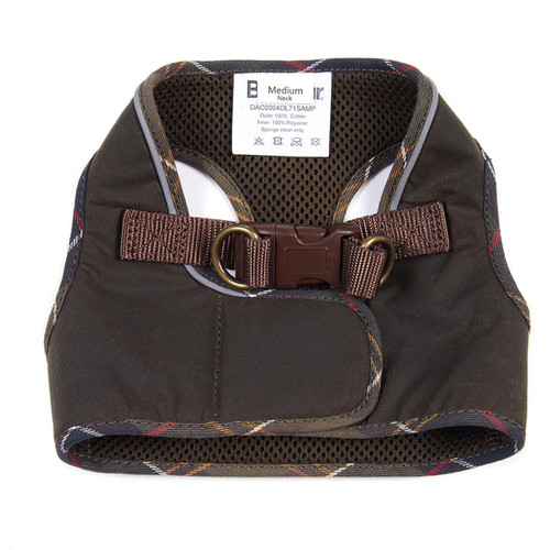 Olive/Classic Barbour Wax Step In Dog Harness