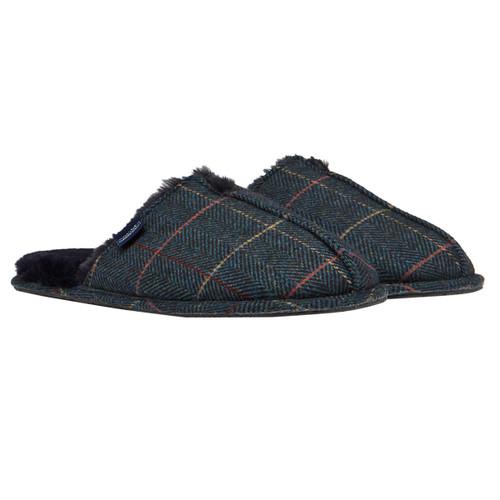 Navy Tweed Joules Mens Furlton Tweed Mule Slippers