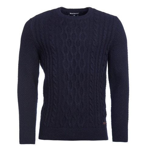 Navy Barbour Mens Chunky Cable Crew Jumper