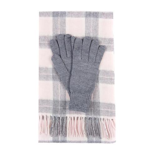 Pink/Grey Tartan Barbour Womens Wool Tartan Scarf & Glove Set