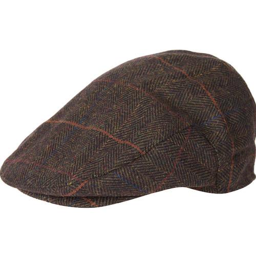 Olive Herringbone Barbour Mens Wilkin Flat Cap