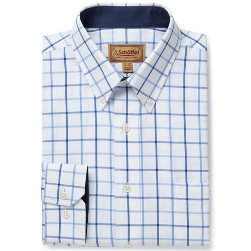 Blue Check Schoffel Mens Brancaster Shirt