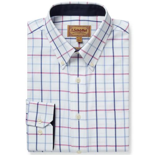 Blue/Pink Check Schoffel Mens Brancaster Shirt
