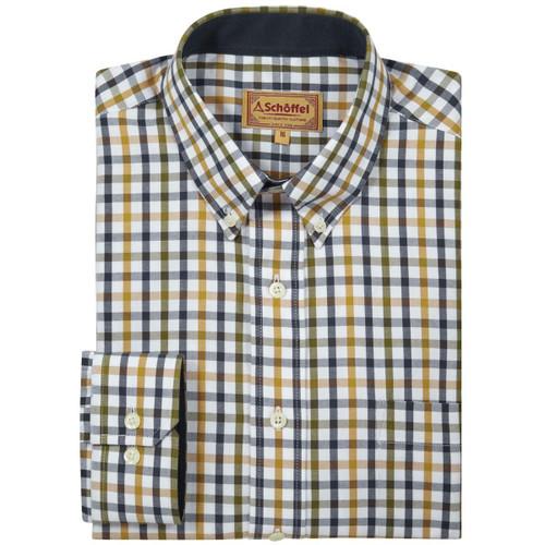 Olive Check Schoffel Mens Brancaster Shirt