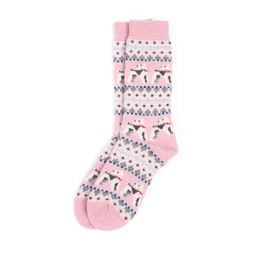 Pink Barbour Womens Terrier Fairisle Socks Pair