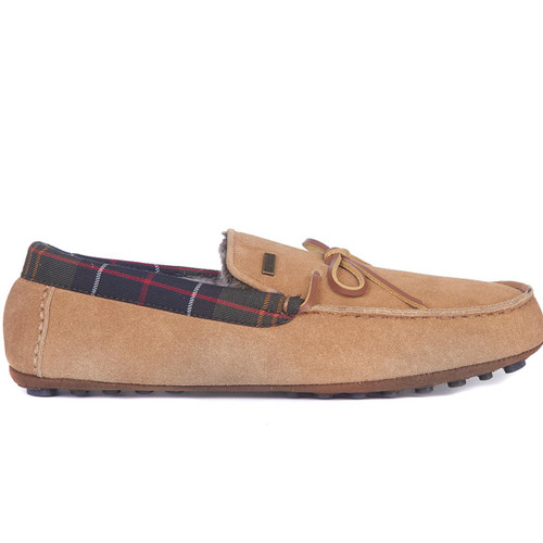 Camel Suede Barbour Mens Tueart Slippers Side