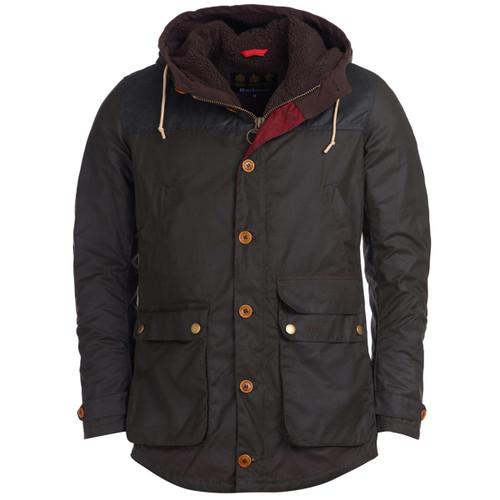 Olive Barbour Mens Game Parka Wax Jacket