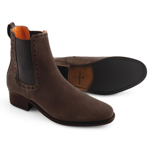 Chocolate Fairfax & Favor Womens Brogued Chelsea Boot