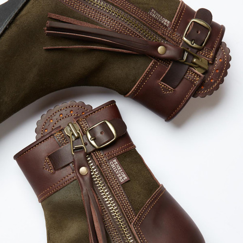 Seaweed/Conker Penelope Chilvers Womens Inclement Cropped Tassel Boot