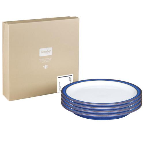 Denby Imperial Blue 4 Piece Dinner Plate Set