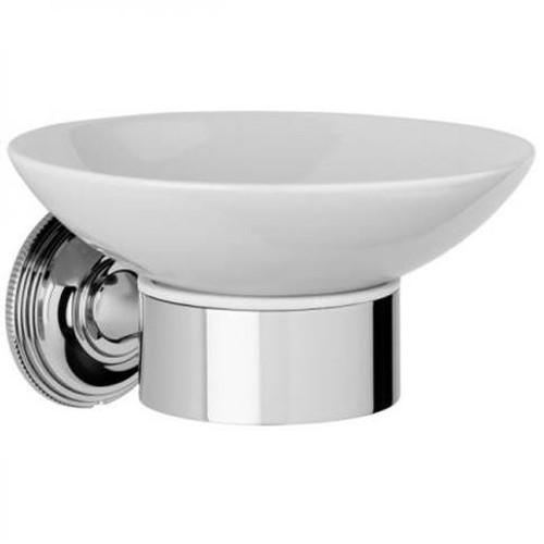 Chrome Plated Samuel Heath Style Moderne Soap Holder White Ceramic N6634W